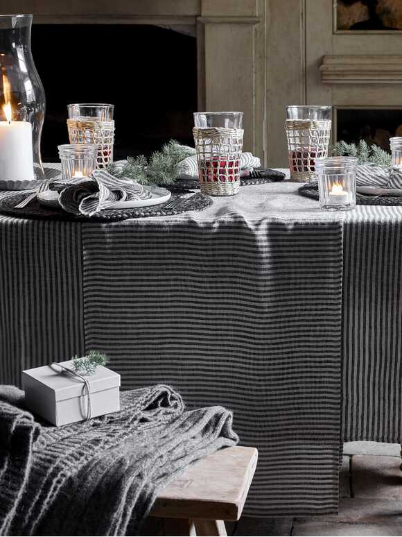 Black Stripe Linen Table Runner