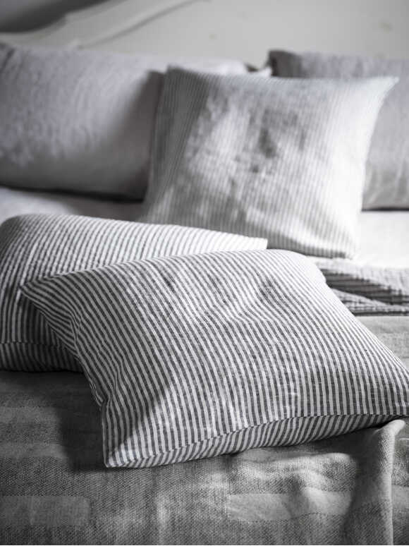 Black Stripe Linen Cushion