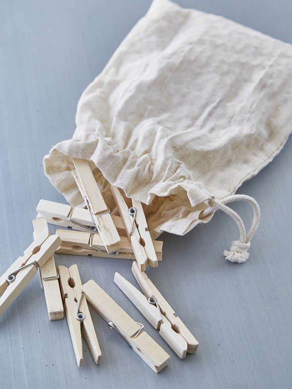 Bag of Wooden Clothes Pegs