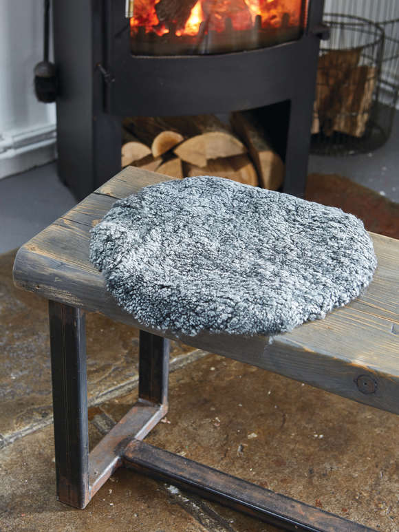 Curly Sheepskin Seat Cover - Grey