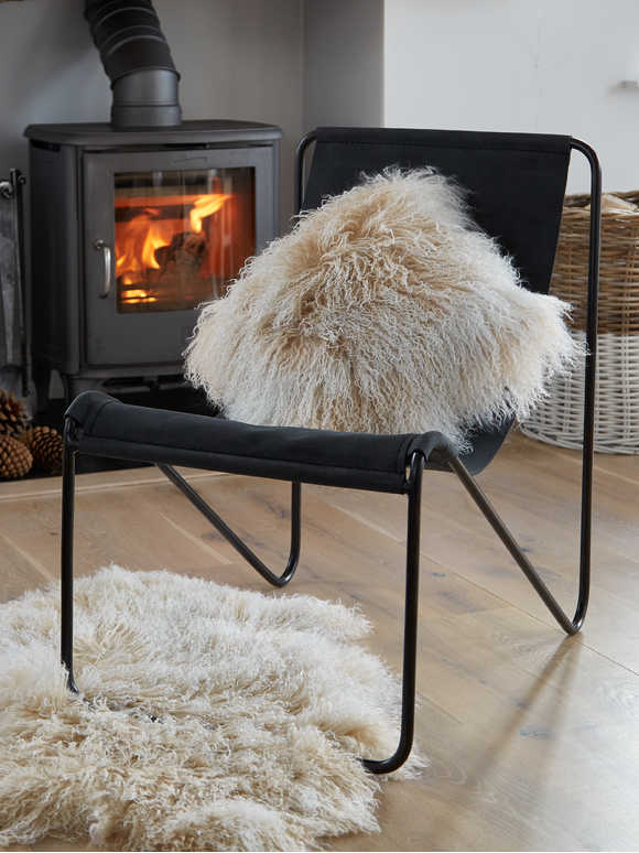 Tibetan Sheepskin Cushion - Arctic Ombre