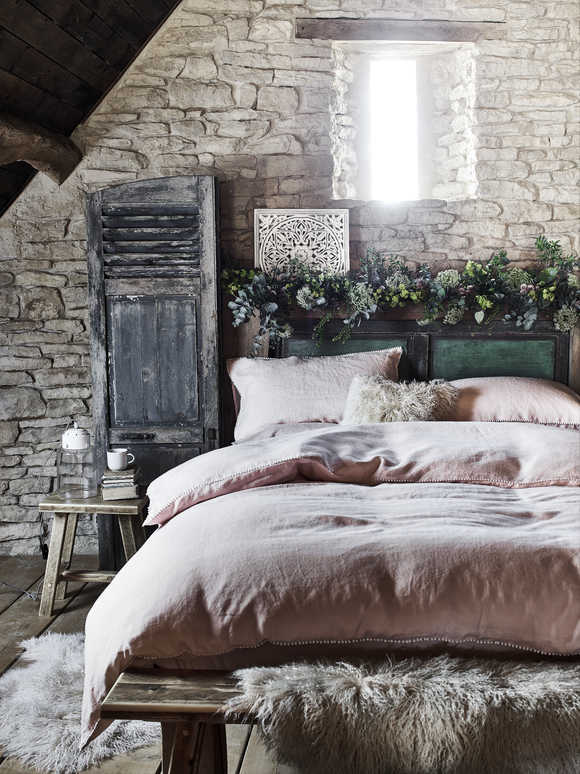 Blush Pink Linen Pom Pom Bedding
