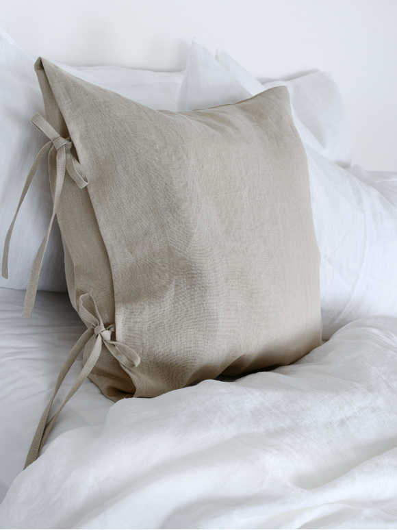 Natural Linen Tie Cushion Cover