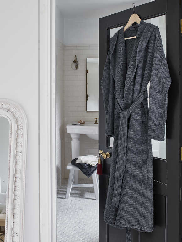 Linen Mix Waffle Bathrobe - Charcoal