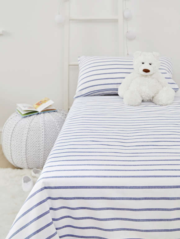 Yarn-Dyed Cot Bed Set - Blue