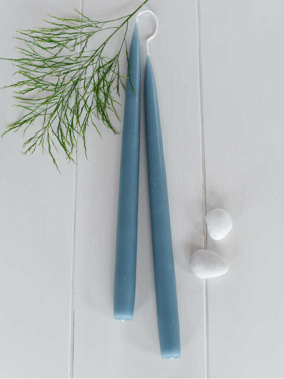 Tapered Dinner Candles - Blue Grey