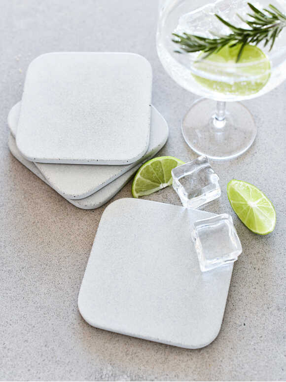Square Concrete Coaster Set