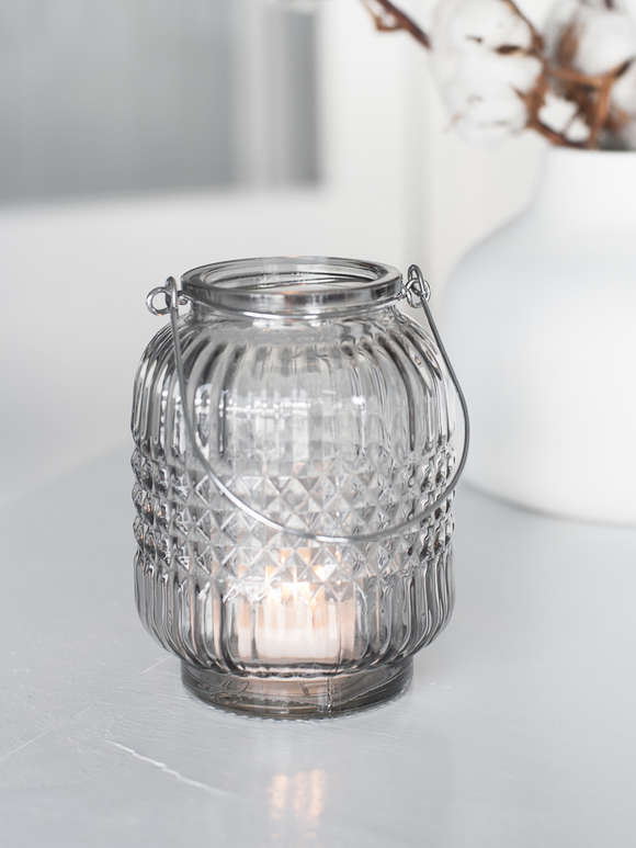 Hanging Glass Tealight Set - Smoke Grey