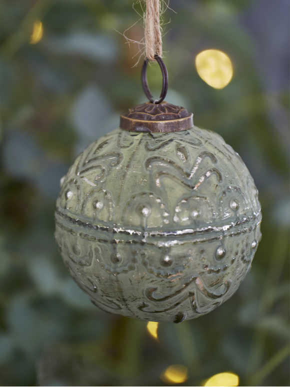 Soft Green Bauble - Wavy