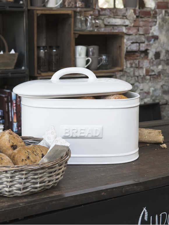 White Ceramic Bread Bin
