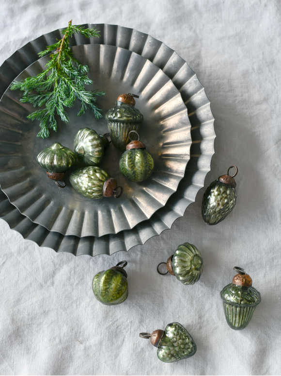 Mini Vintage Olive Green Bauble Set