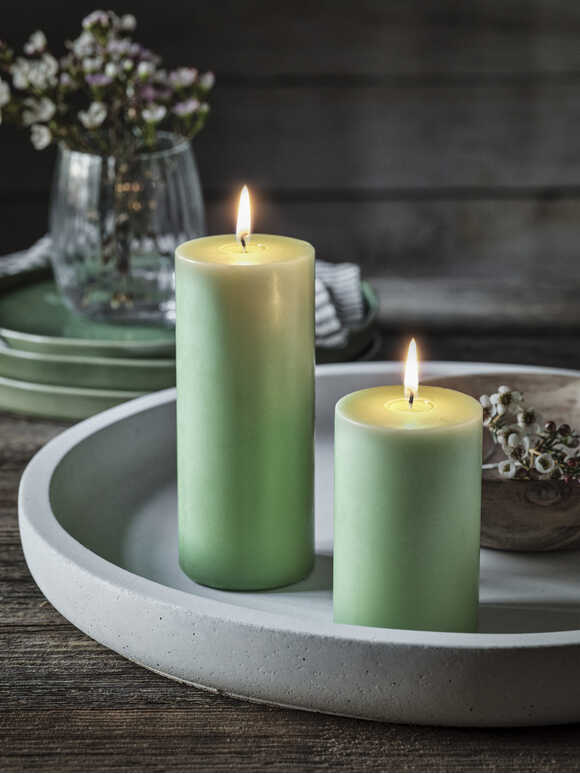 Soft Green Pillar Candle Set
