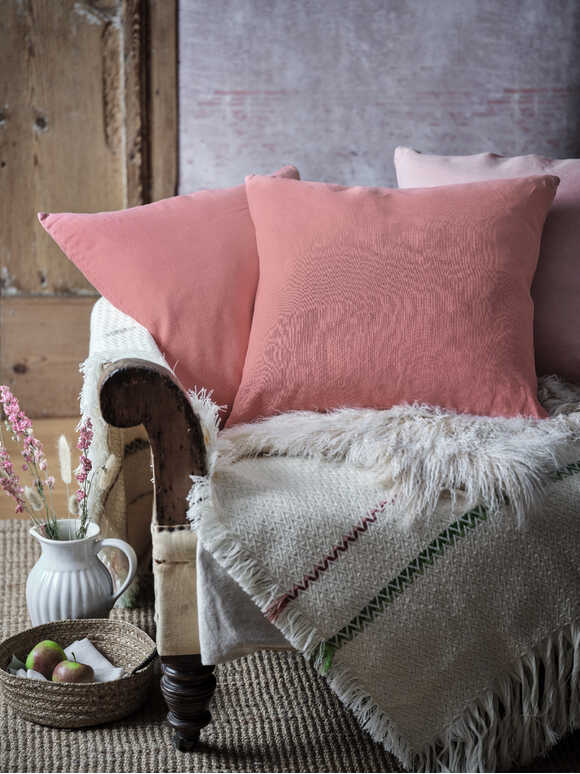 Faded Rose Linen Cushion