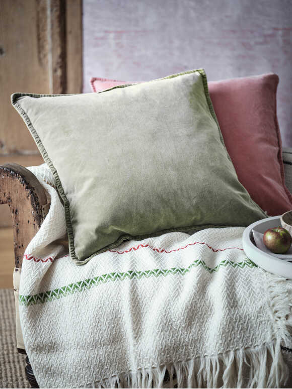Olive Green Velvet Cushion