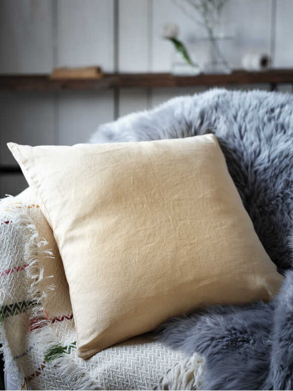 Soft Yellow Linen Cushion