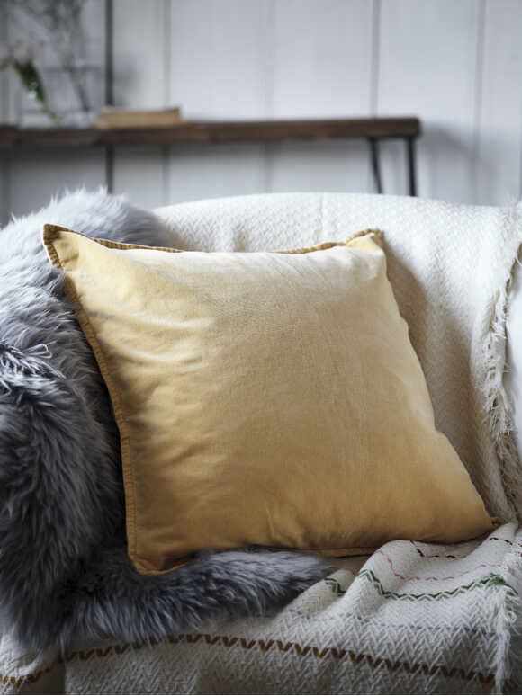 Soft Yellow Velvet Cushion
