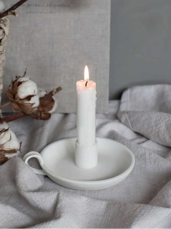 Elise Candle Holder - White