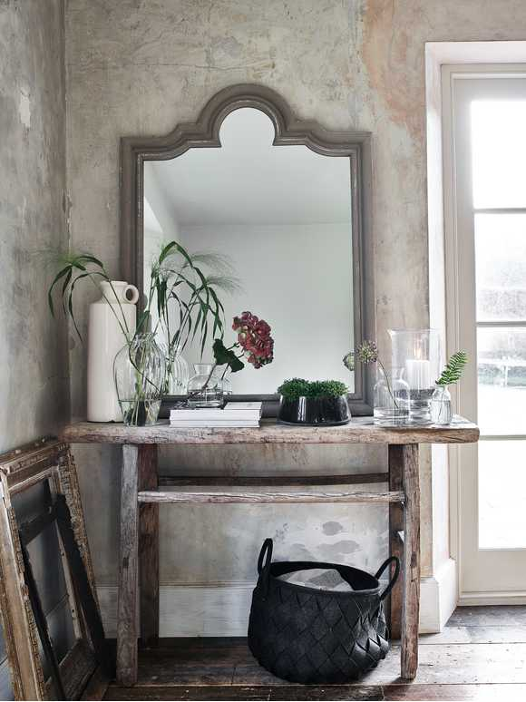 Distressed Grey Mantle Mirror