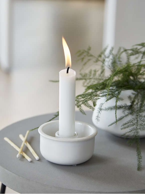 White Ceramic Candle Holder