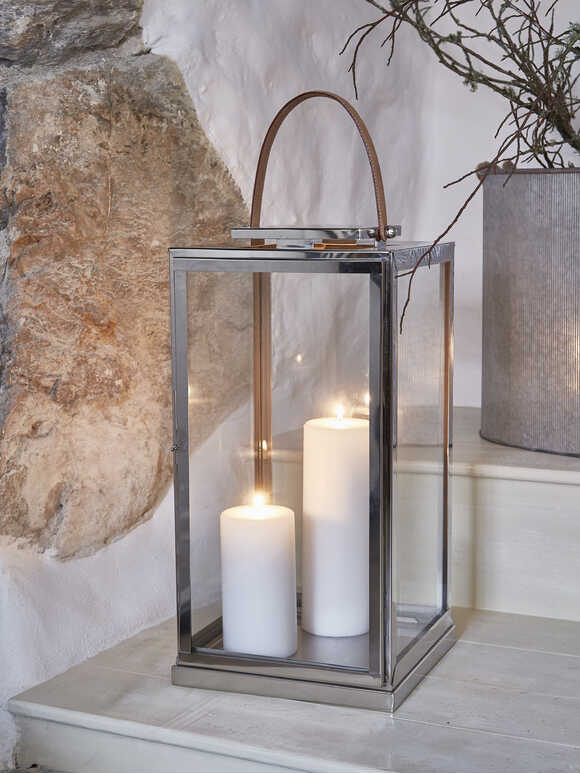 Stainless and Leather Lantern