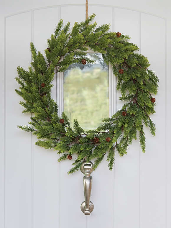 Large Faux Pine Christmas Wreath