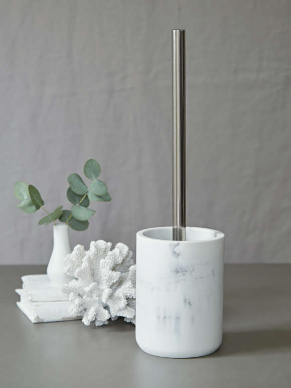 Marble Effect Toilet Brush Set