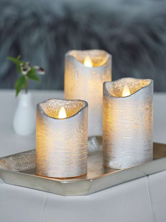 Silver LED Pillar Candles