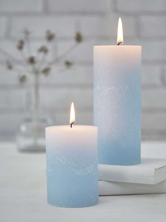 Rustic Pillar Candles - Pale Blue