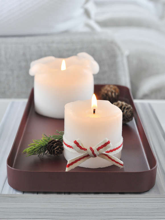 Deep Red Metal Candle Tray