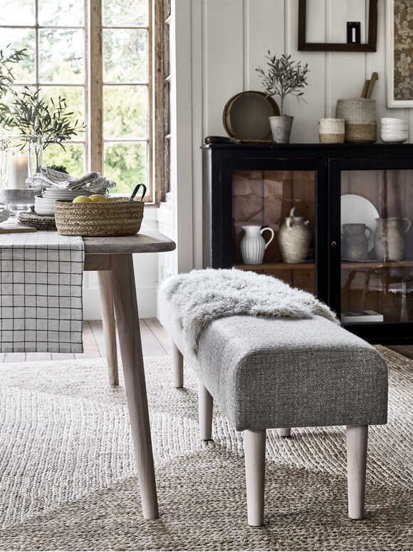 Sundby Uphostered Bench - Boucle Stone
