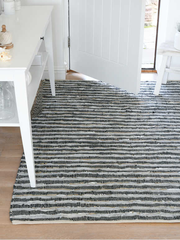 Striped Recycled Leather Rug