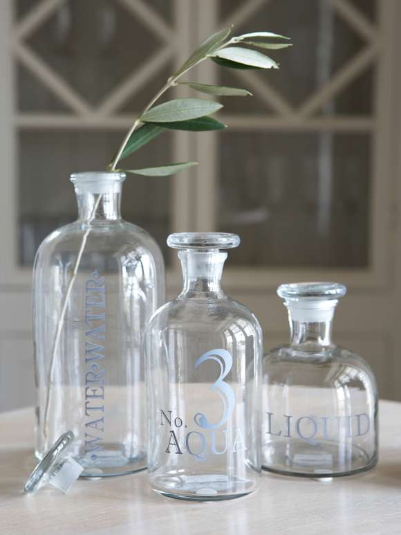 Retro Glass Display Bottles - Grey Print
