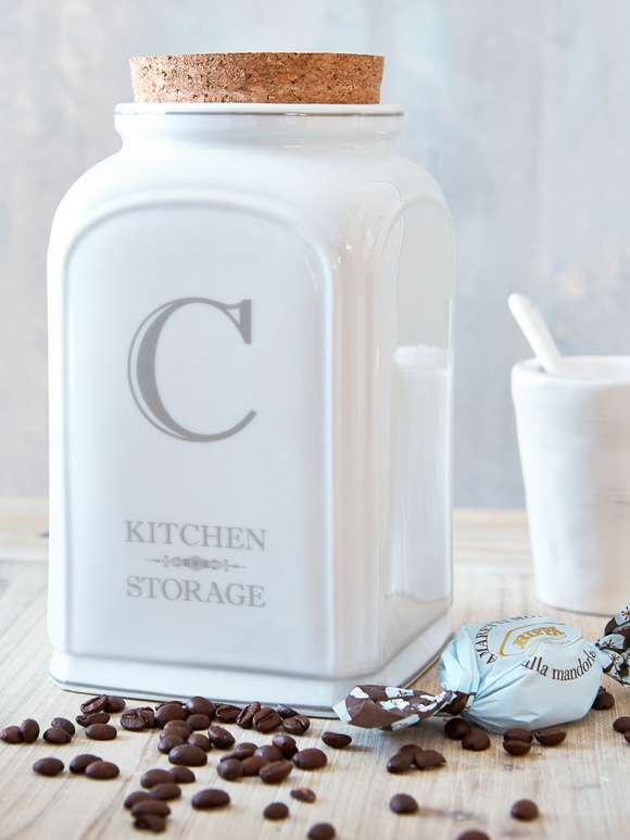 White Ceramic Coffee Jar
