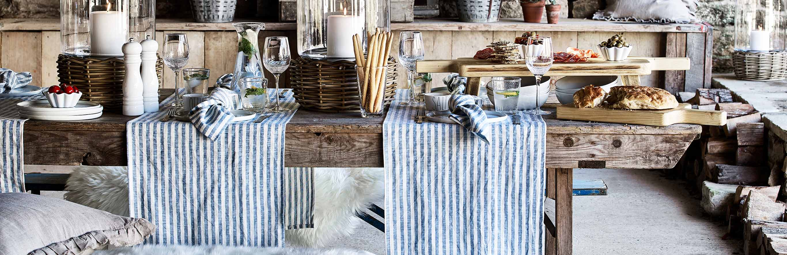Scandi Striped Blue Table Linen
