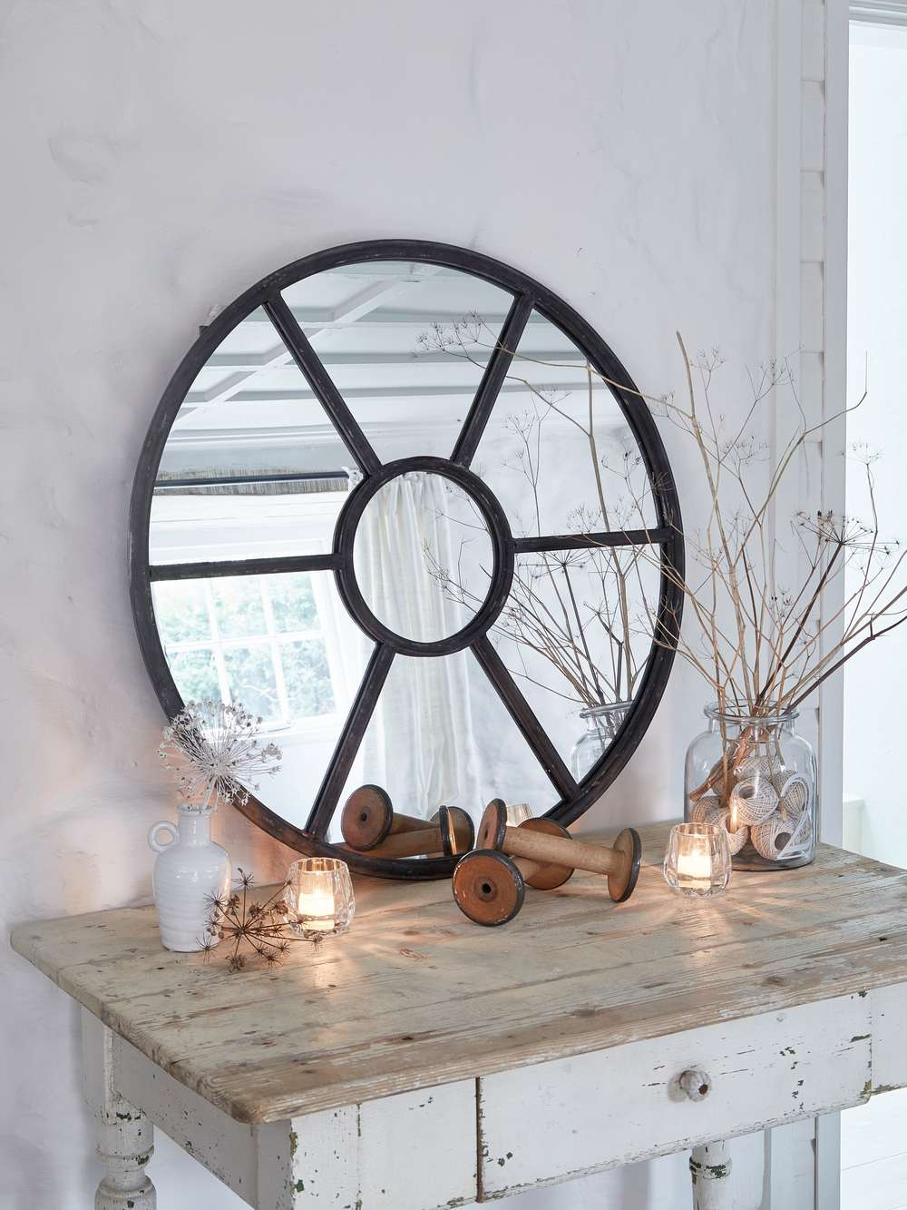 Round Loft Style Window Mirror Large Round Mirror Uk
