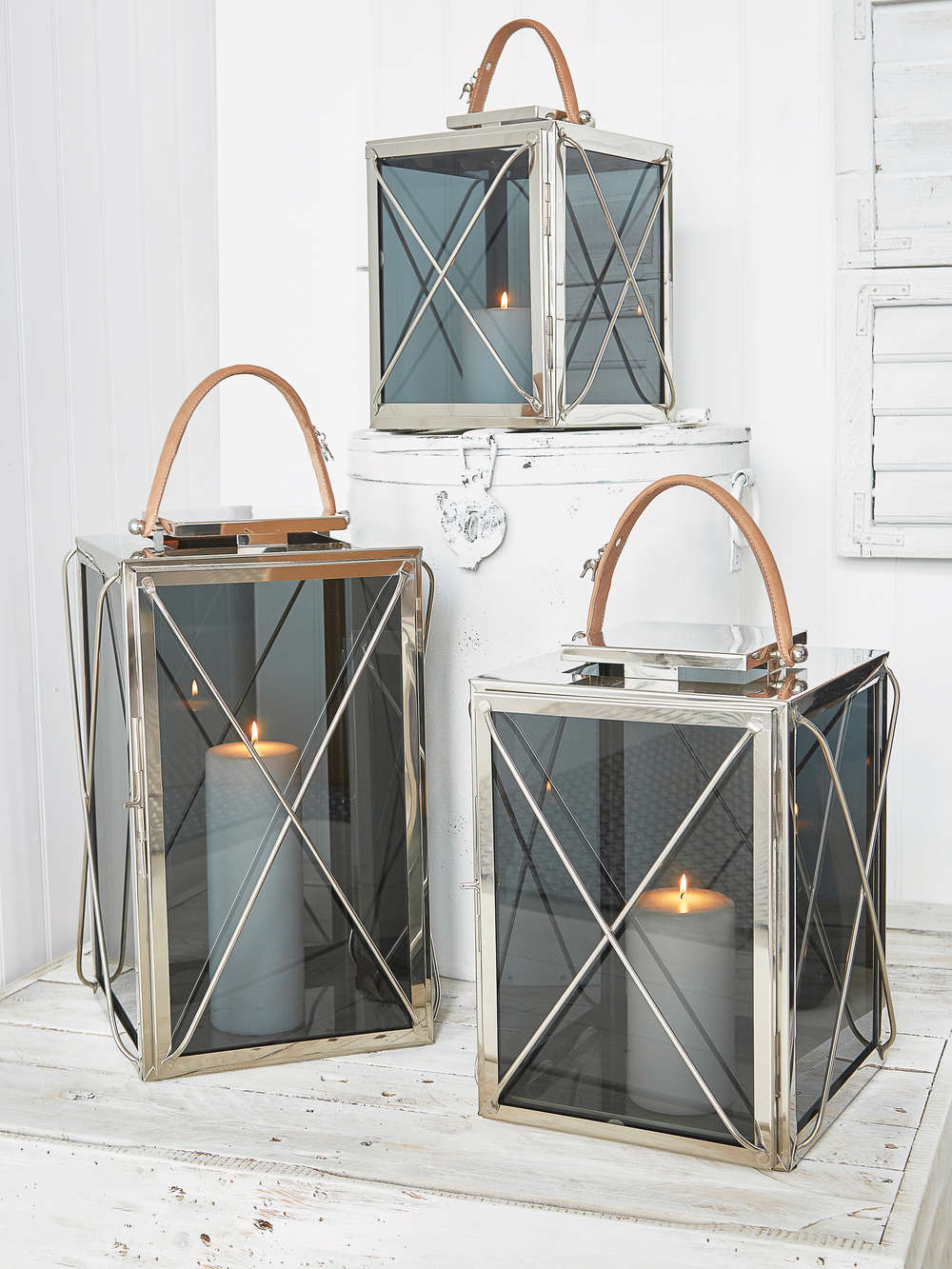 Smoked Glass And Leather Strap Lanterns Lanterns With