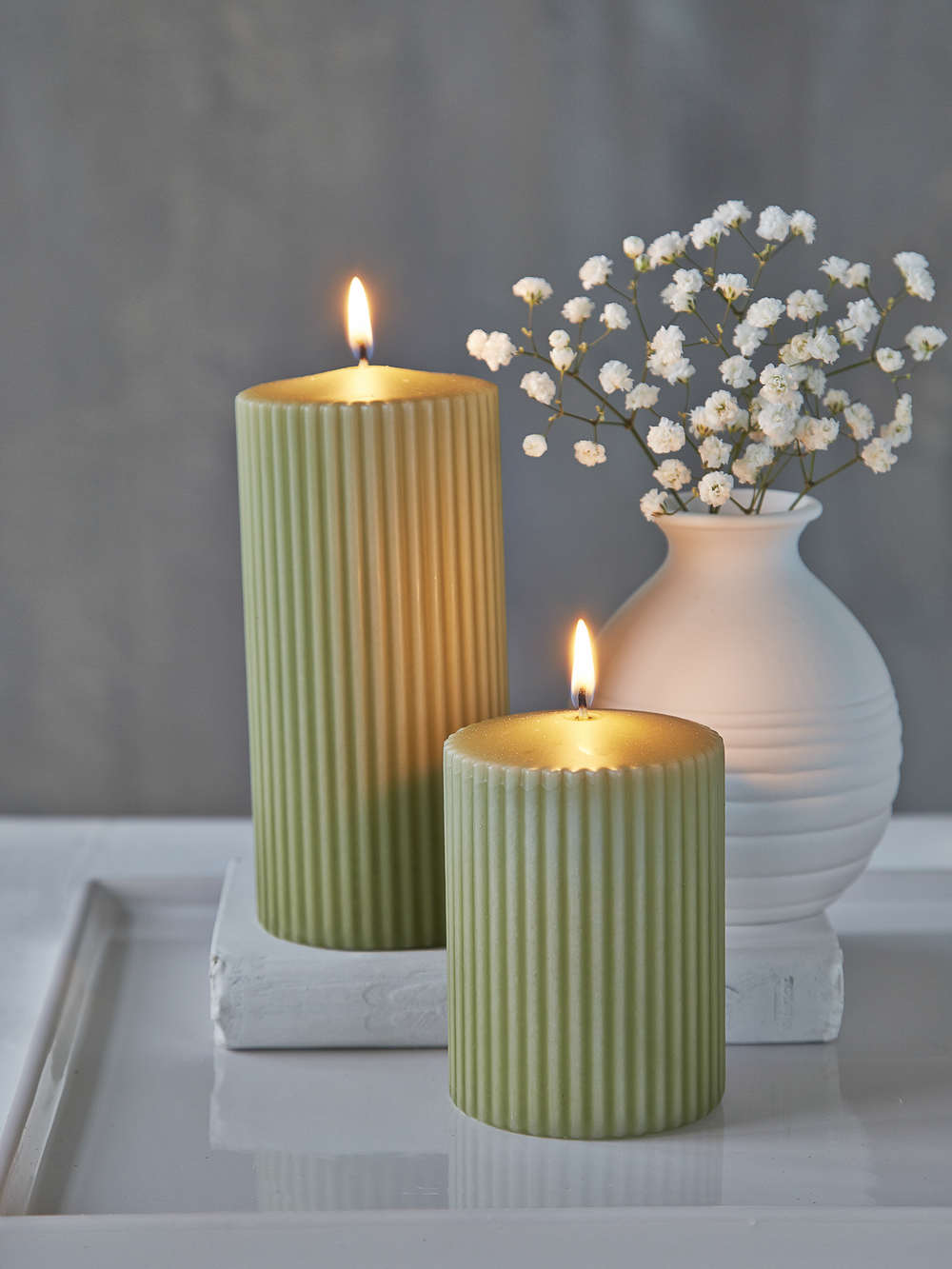 Rilled Pillar Candles Leaf Green