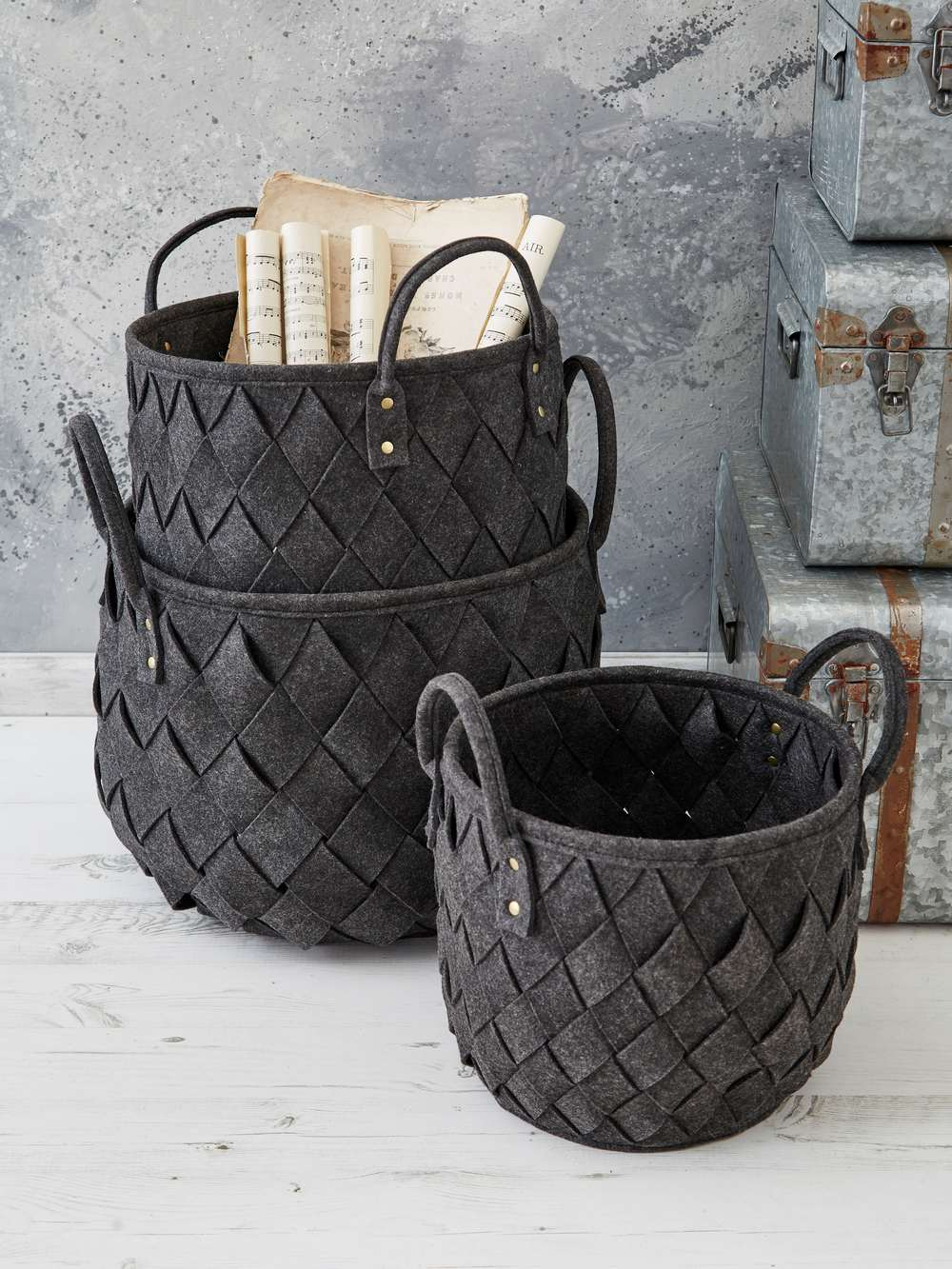 Woven Basket Set Slate Grey Storage Basket Set