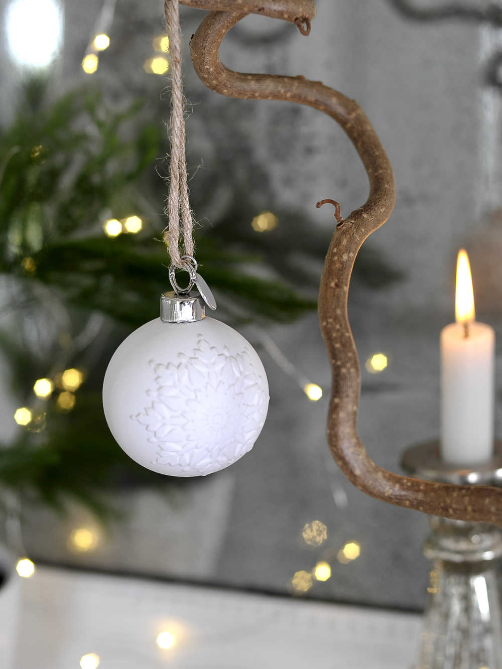 White Porcelain Bauble White Christmas Baubles Nordic