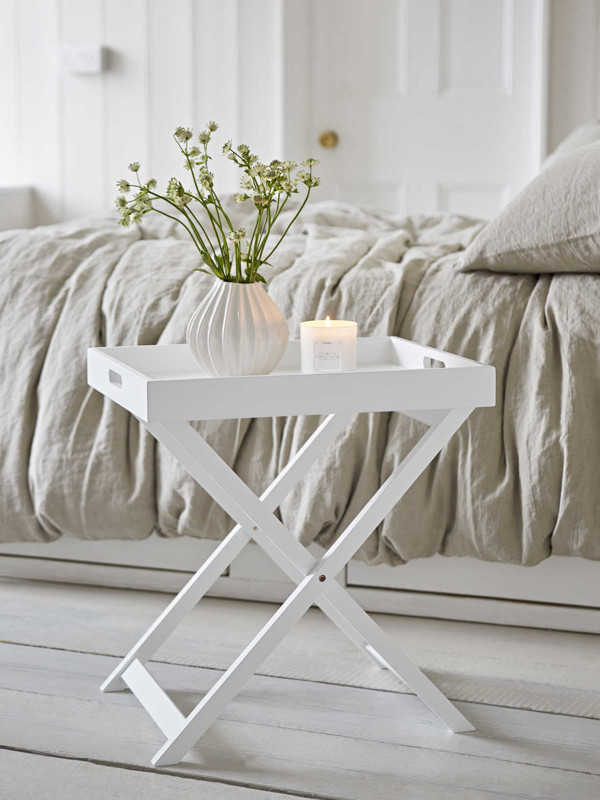 Nordic House White Butler Tray Table