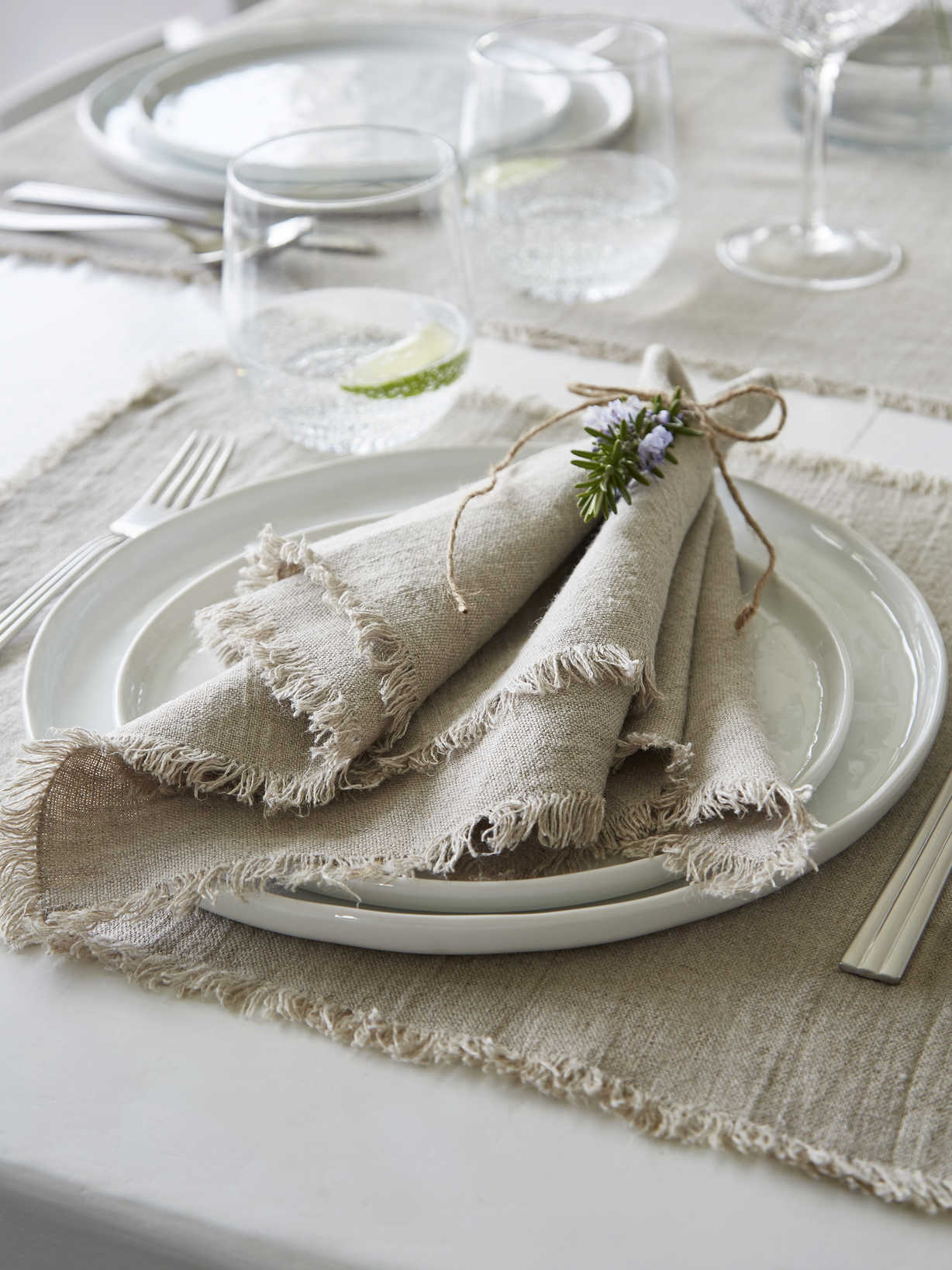 Nordic House Natural Frayed Edge Linen Napkins