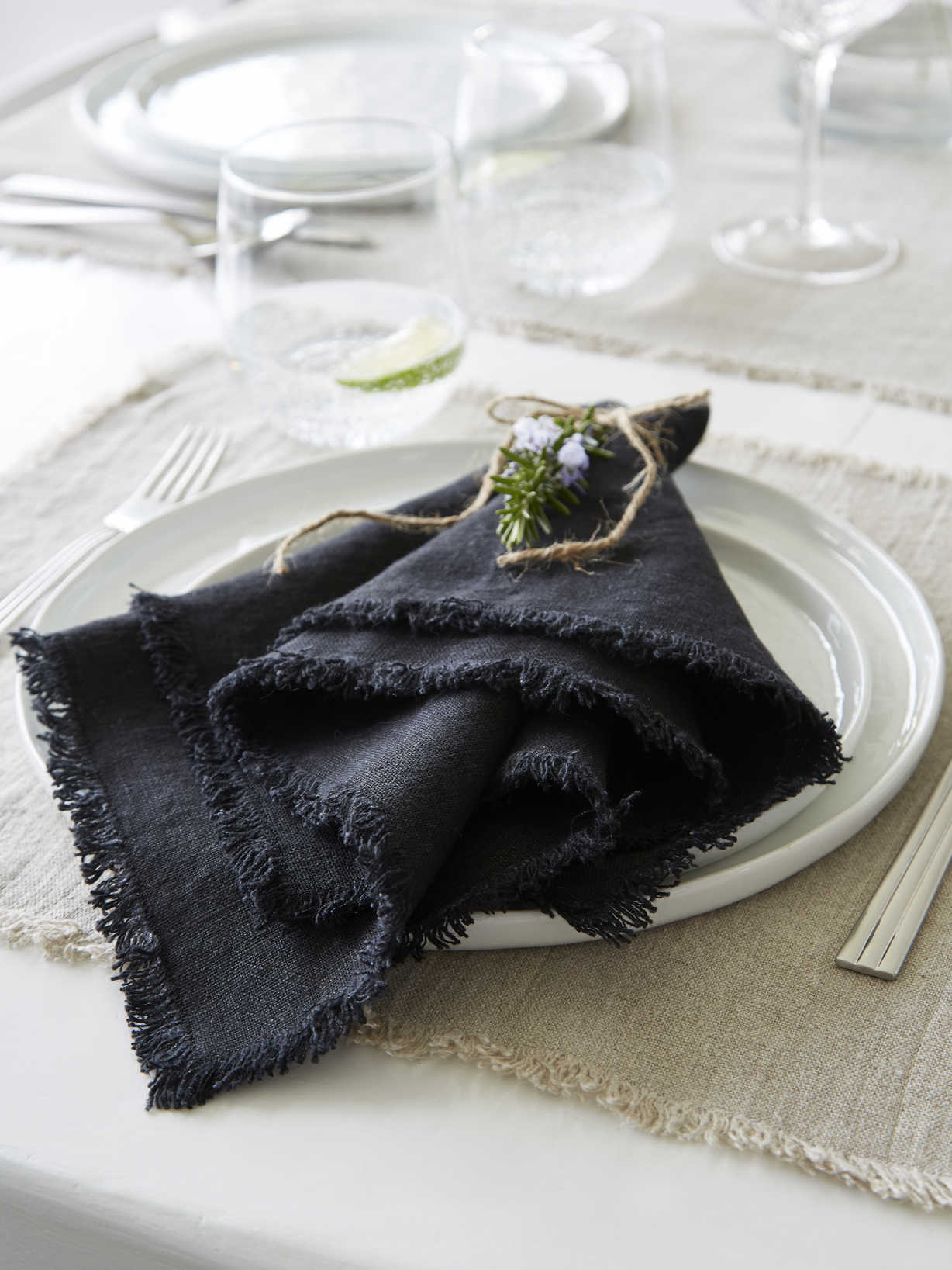 Nordic House Black Frayed Edge Linen Napkins