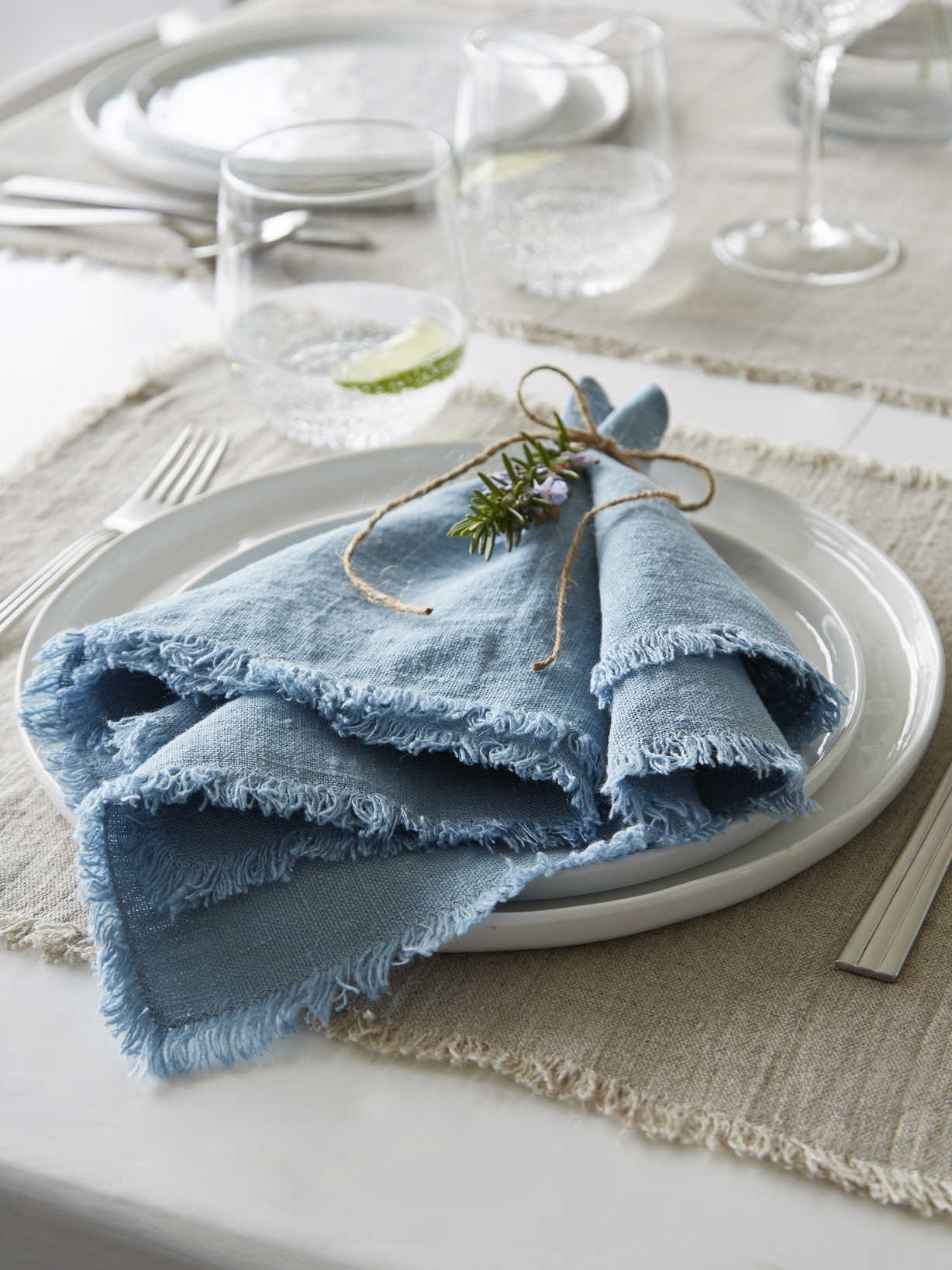 Nordic House Teal Frayed Edge Linen Napkins