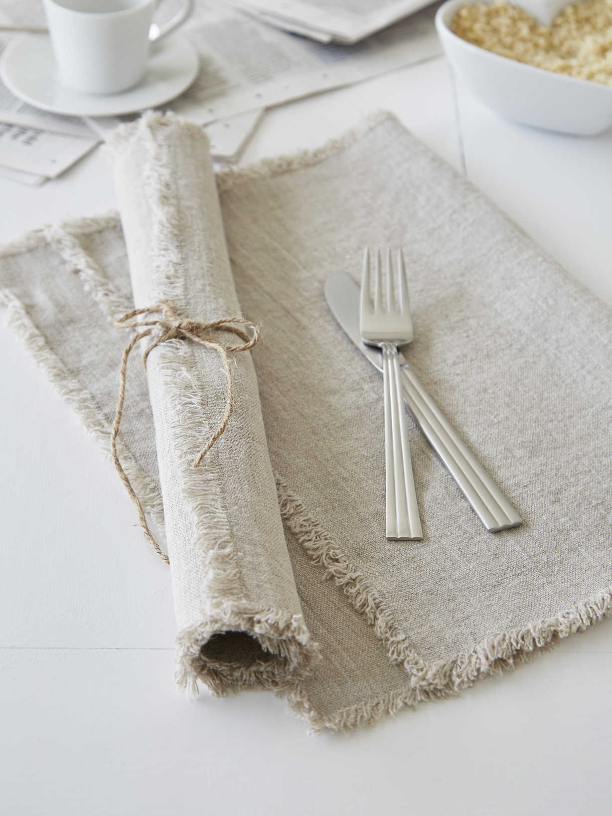 Nordic House Natural Frayed Edge Linen Placemats