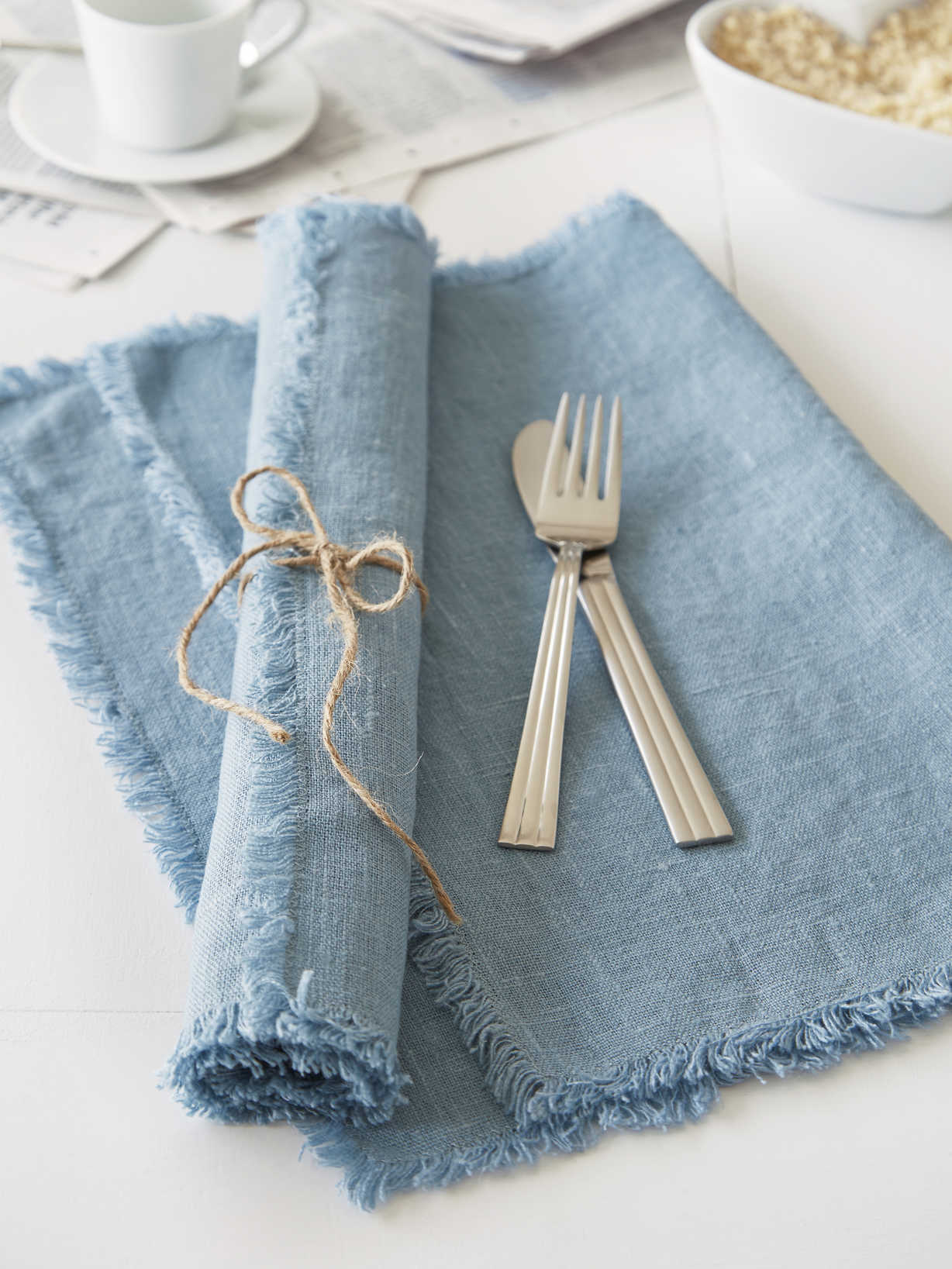 Nordic House Teal Frayed Edge Linen Placemats