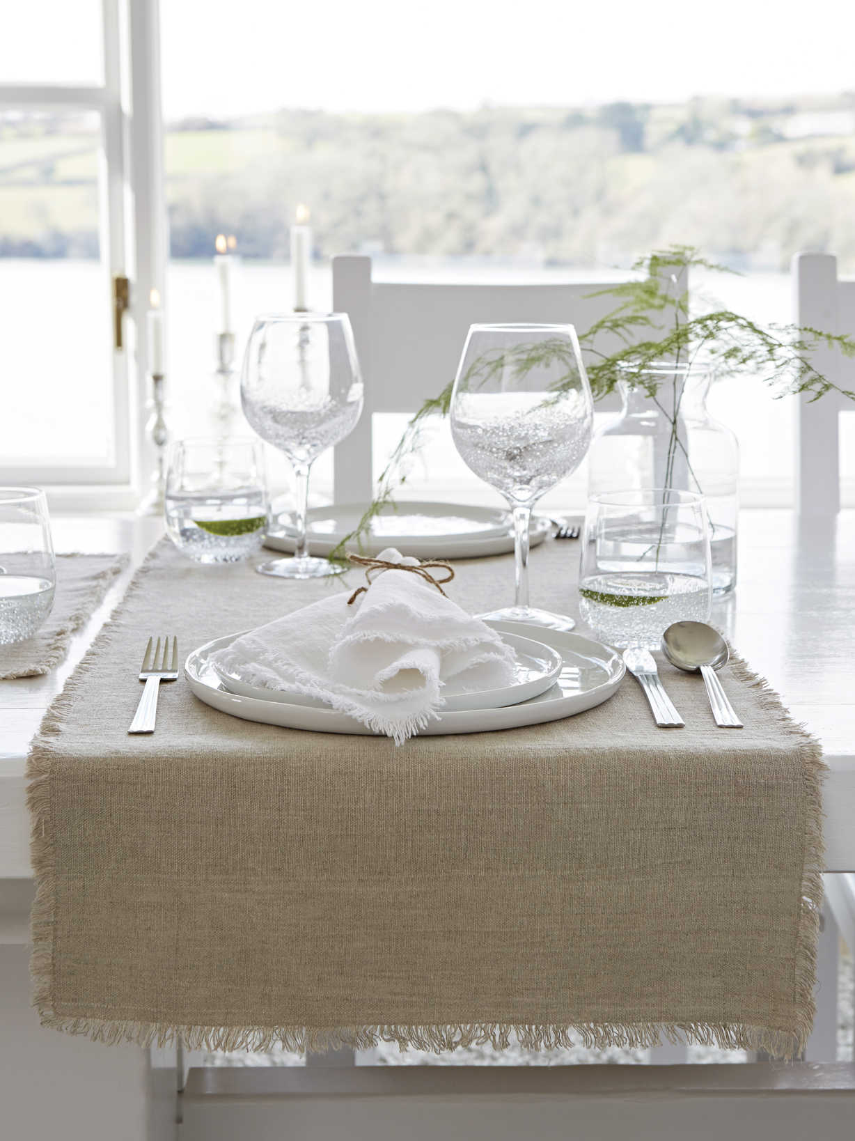 Nordic House Natural Frayed Edge Linen Table Runner