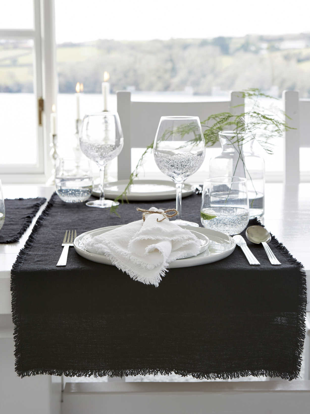 Nordic House Black Frayed Edge Linen Table Runner