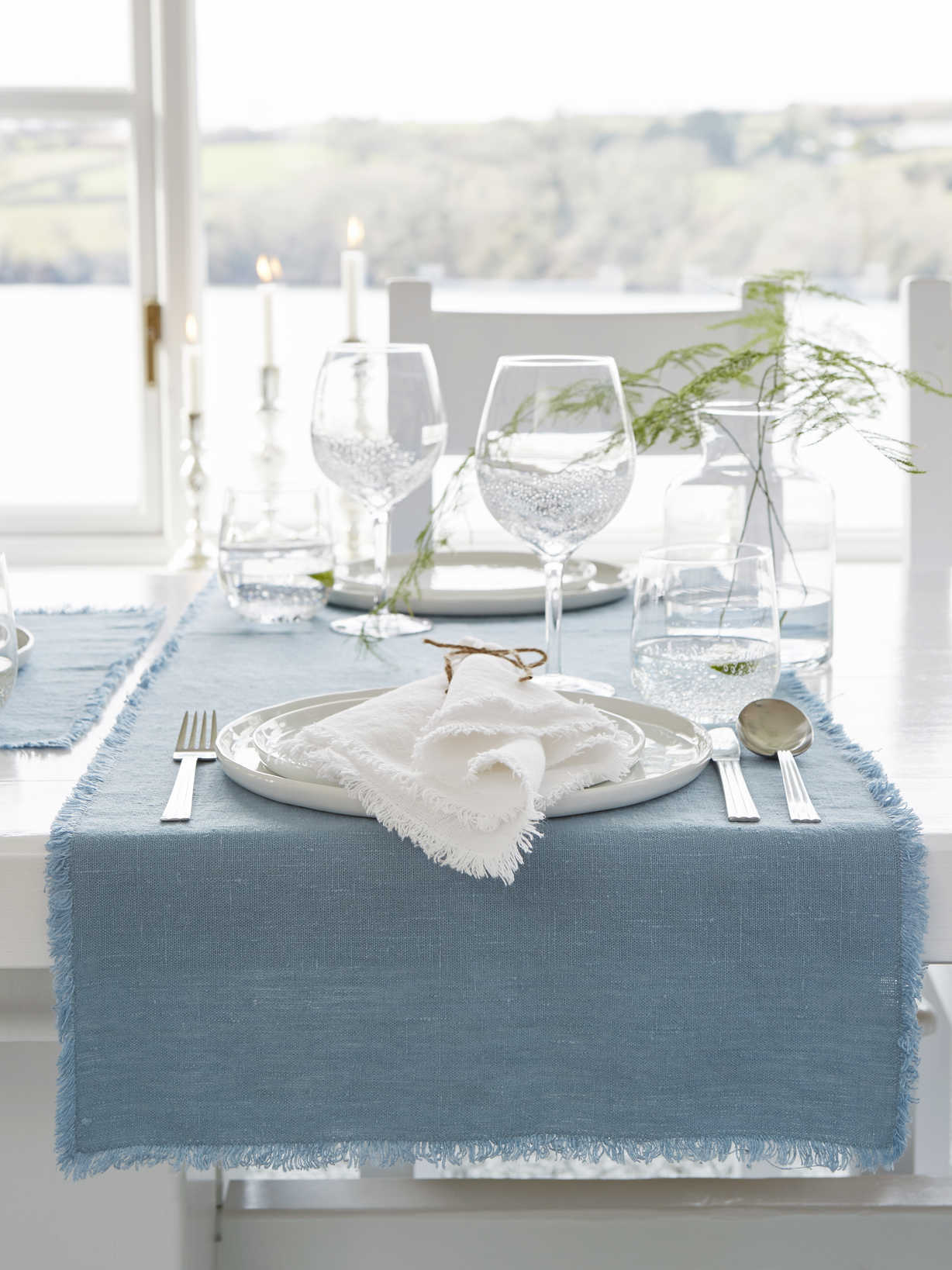 Nordic House Teal Frayed Edge Linen Table Runner
