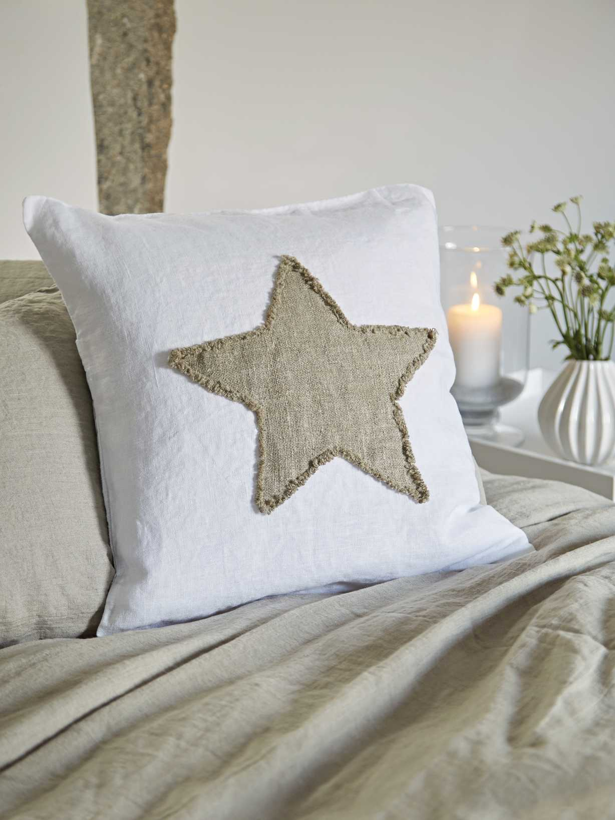 Nordic House Linen Star Cushion