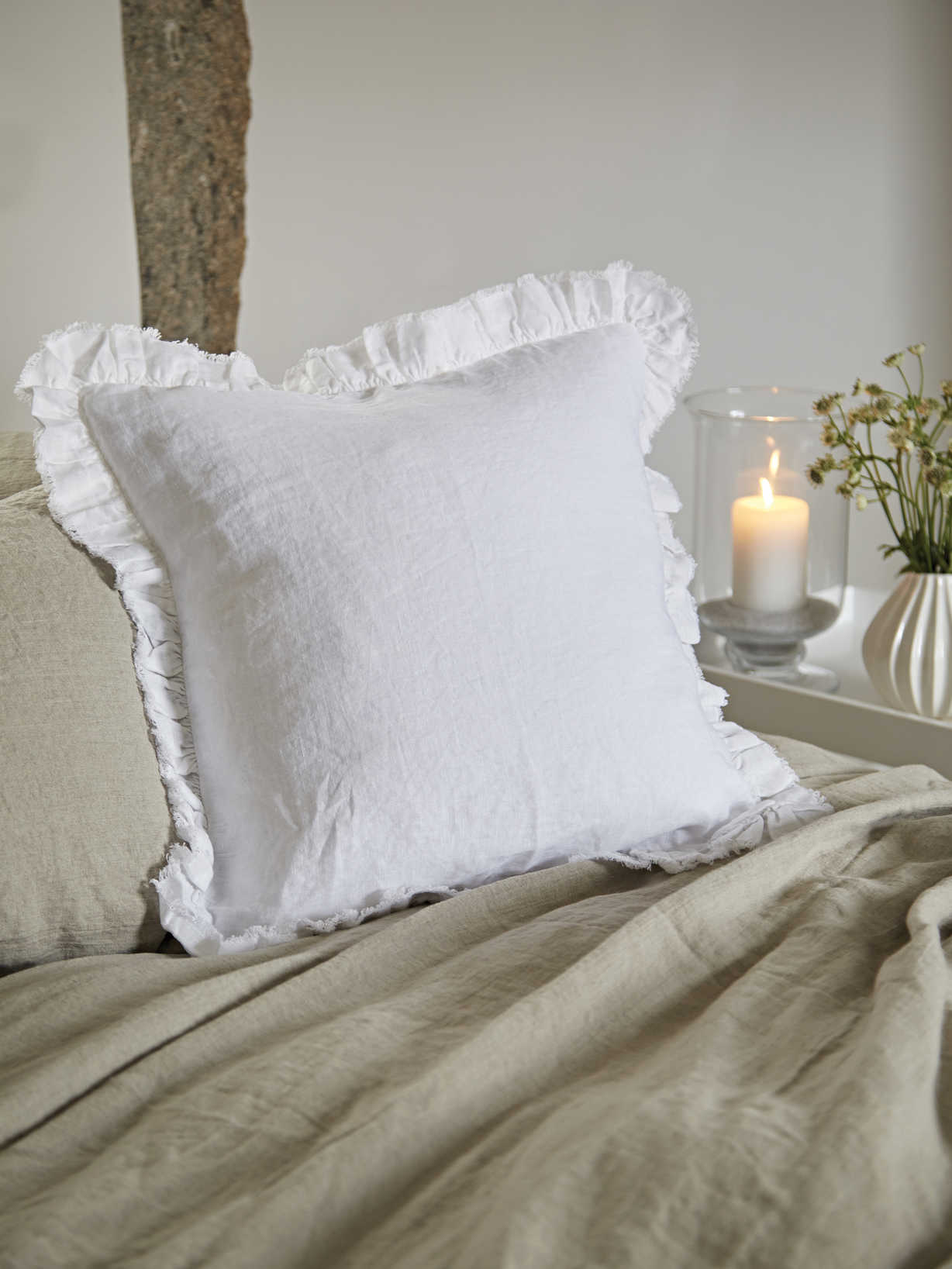 Nordic House Linen Ruffle Edge Cushion - White